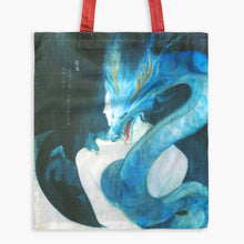 CLEARANCE - Guardian Spirits Cotton Tote Bag with Zipper Pocket - Blue Dragon - Tote Bags - Lavender Home London