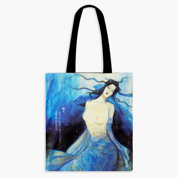 Guardian Spirits Cotton Tote Bag with Zipper Pocket- Mermaid