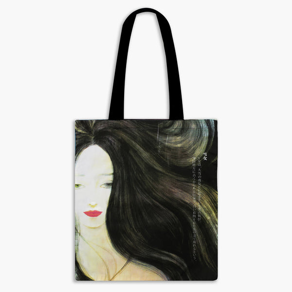 Guardian Spirits Cotton Tote Bag with Zipper Pocket - Snow Woman V2