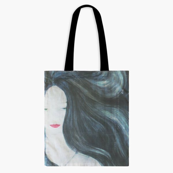 CLEARANCE - Guardian Spirits Cotton Tote Bag with Zipper Pocket - Snow Woman V1 - Tote Bags - Lavender Home London