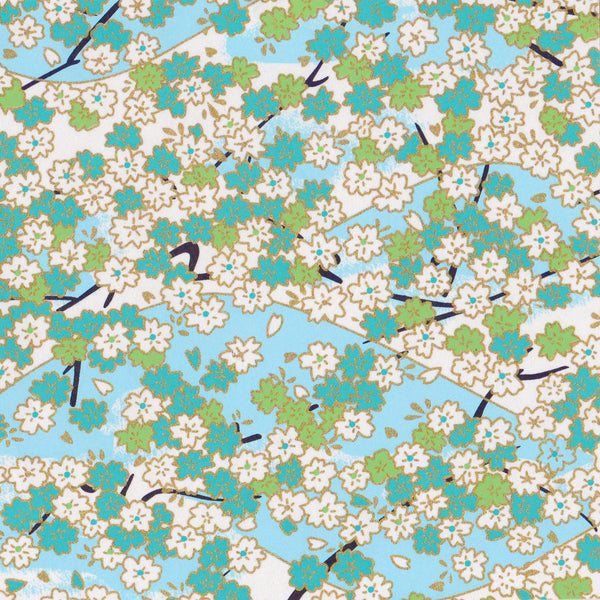 Pack of 20 Sheets 14x14cm Yuzen Washi Origami Paper HZ-001 - Aqua Cherry Blossom - washi paper - Lavender Home London
