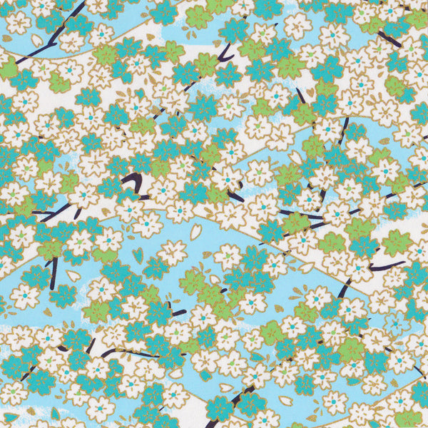 Yuzen Washi Wrapping Paper HZ-001 - Aqua Cherry Blossom