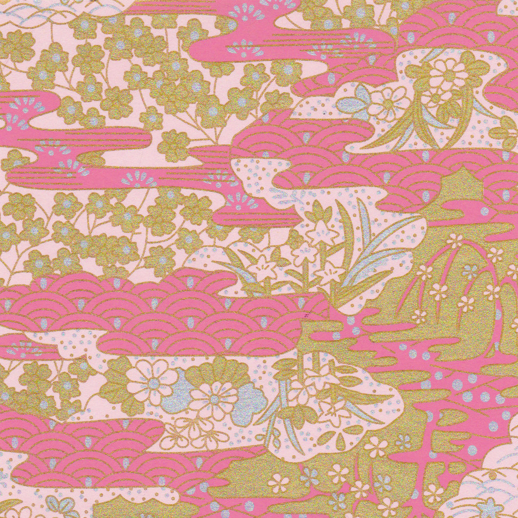Yuzen Washi Wrapping Paper HZ-002 - Pink Sea Waves Garden