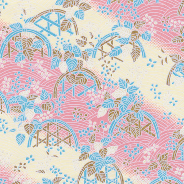 Yuzen Washi Wrapping Paper HZ-003 - Pink Cream Flower Basket