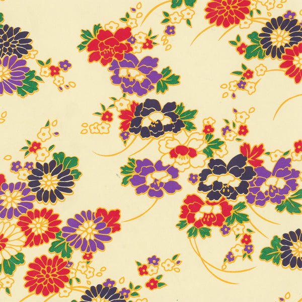 Yuzen Washi Wrapping Paper HZ-004 - Chrysanthemum & Peony Bouquets