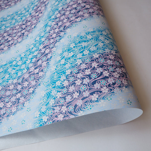 Yuzen Washi Wrapping Paper HZ-005 - Cherry Blossom Flowing Blue Water with Pink - washi paper - Lavender Home London