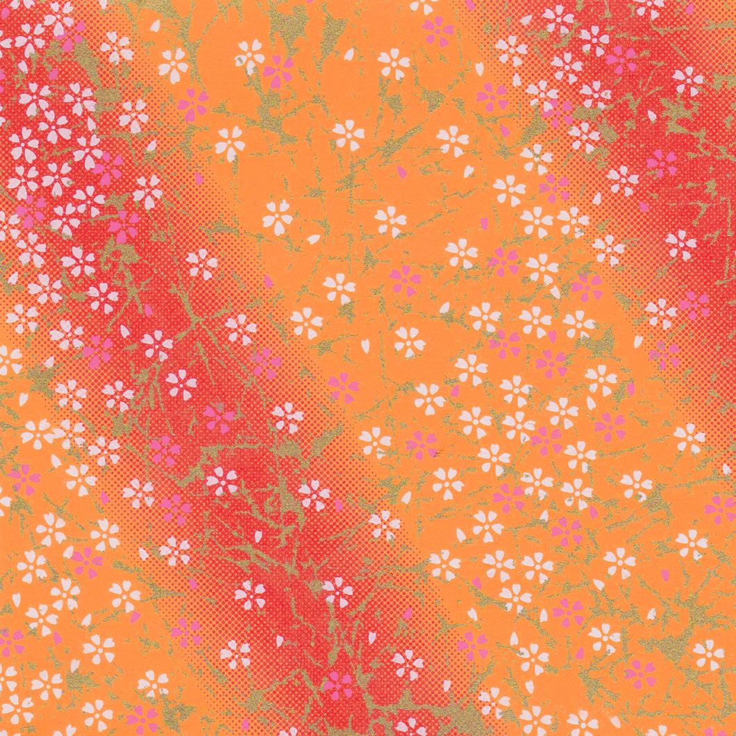 Yuzen Washi Wrapping Paper HZ-006 - Small Cherry Blossom Orange Gradation - washi paper - Lavender Home London