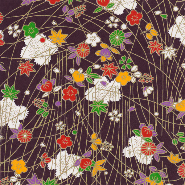 Yuzen Washi Wrapping Paper HZ-009 - Plum Flowers & Maple Leaves Purple