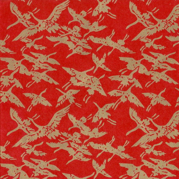 Yuzen Washi Wrapping Paper - Gold Cranes Red