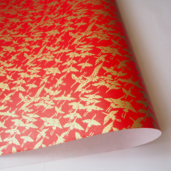 Yuzen Washi Wrapping Paper HZ-010 - Gold Cranes Red - washi paper - Lavender Home London