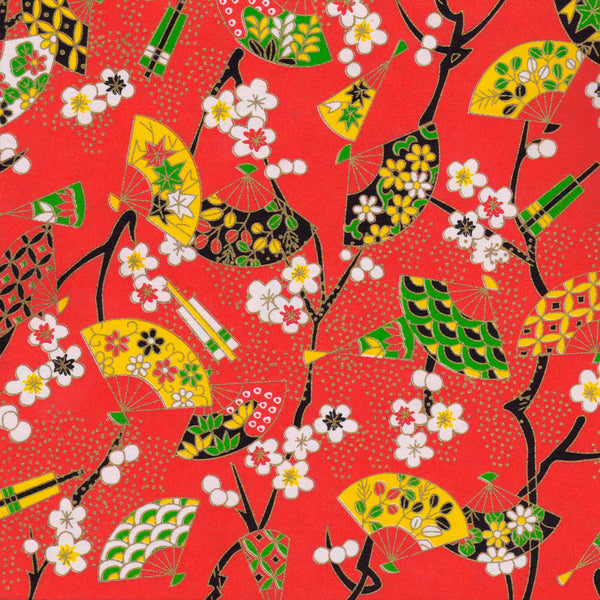 Yuzen Washi Wrapping Paper - Floral Fans & Plum Flowers Red