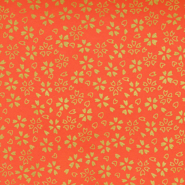 Pack of 20 Sheets 14x14cm Yuzen Washi Origami Paper HZ-018 - Gold Cherry Blossom Orange - washi paper - Lavender Home London