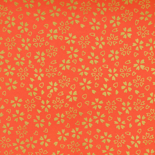 Yuzen Washi Wrapping Paper HZ-018 - Gold Cherry Blossom Orange - washi paper - Lavender Home London