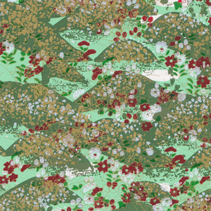 Yuzen Washi Wrapping Paper HZ-031 - Mint Green Garden