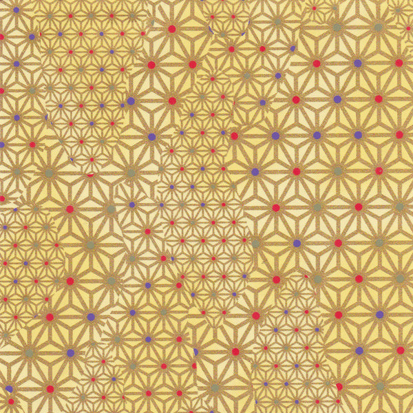Yuzen Washi Wrapping Paper HZ-033 - Klimt Gold Hemp Leaf