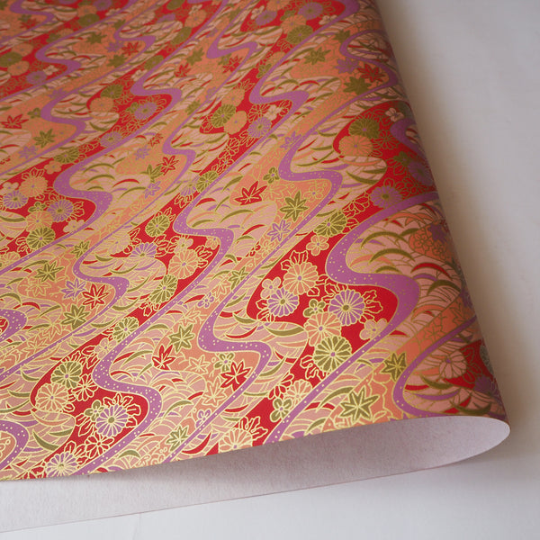 Yuzen Washi Wrapping Paper HZ-037 - Chrysanthemum & Maple Leaves Red - washi paper - Lavender Home London