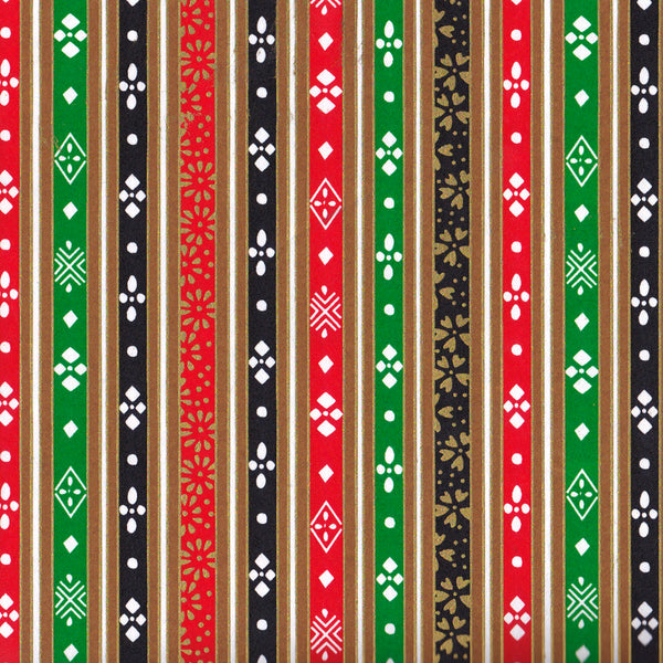 Yuzen Washi Wrapping Paper - Stripes of Hinamatsuri (Vivid)