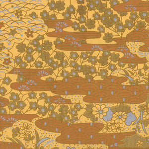 Yuzen Washi Wrapping Paper - Gold Sea Waves Garden