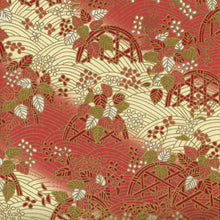 Yuzen Washi Wrapping Paper - Red Cream Flower Basket