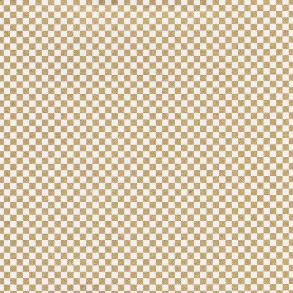 Yuzen Washi Wrapping Paper - Gold Checkerboard (S)