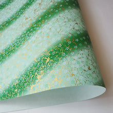 Yuzen Washi Wrapping Paper HZ-052 - Small Cherry Blossom Green Gradation - washi paper - Lavender Home London
