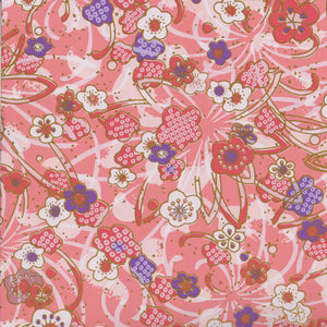Yuzen Washi Wrapping Paper - Plum Flowers & Deer's Spots Pink