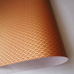 Yuzen Washi Wrapping Paper HZ-055 - Sea Waves Red Gold - washi paper - Lavender Home London