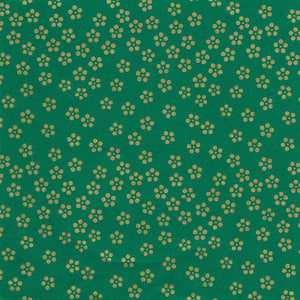 Pack of 20 Sheets 14x14cm Yuzen Washi Origami Paper HZ-057 - Gold Small Plum Flowers Green - washi paper - Lavender Home London