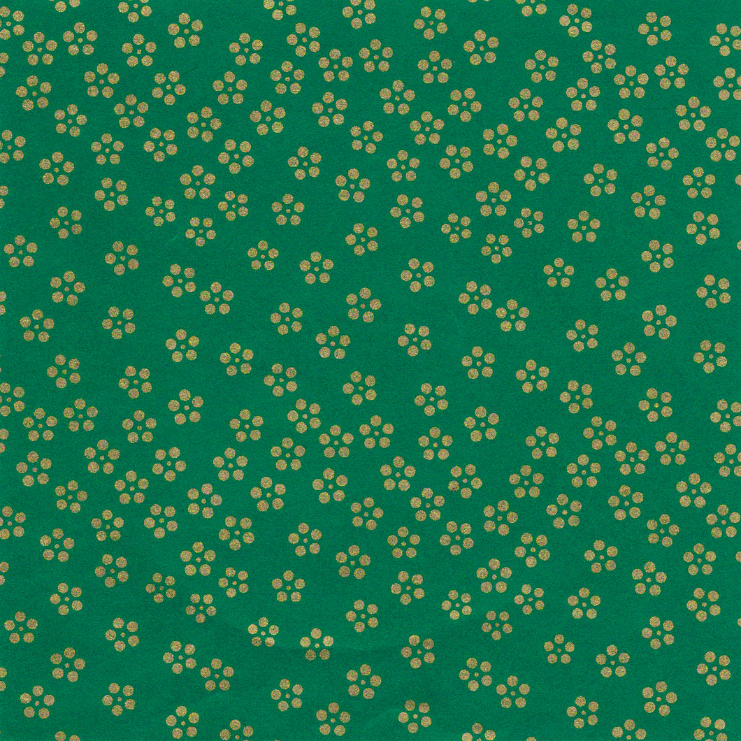 Yuzen Washi Wrapping Paper HZ-057 - Gold Small Plum Flowers Green