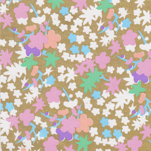 Yuzen Washi Wrapping Paper HZ-062 - Pastel Flowers Gold - washi paper - Lavender Home London