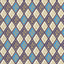 Yuzen Washi Wrapping Paper HZ-073 - Blue Gold Diamond Flower - washi paper - Lavender Home London