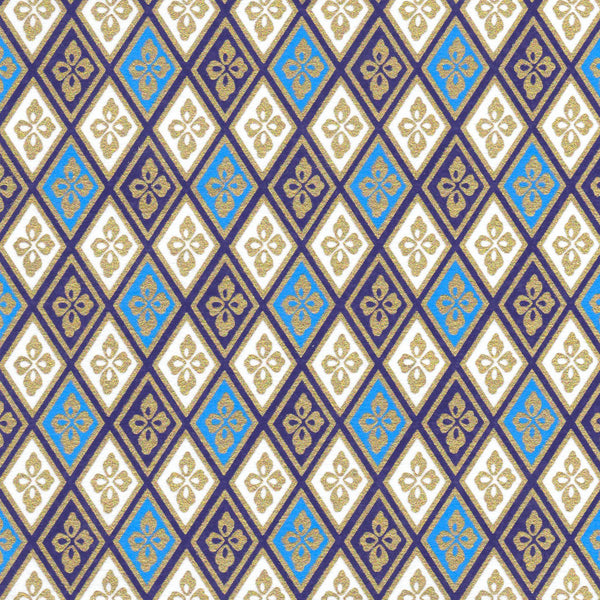 Pack of 20 Sheets 14x14cm Yuzen Washi Origami Paper HZ-073 - Blue Gold Diamond Flower - washi paper - Lavender Home London
