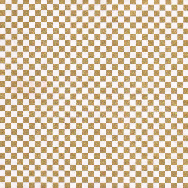 Pack of 20 Sheets 14x14cm Yuzen Washi Origami Paper HZ-074 - Gold Checkerboard (L) - washi paper - Lavender Home London