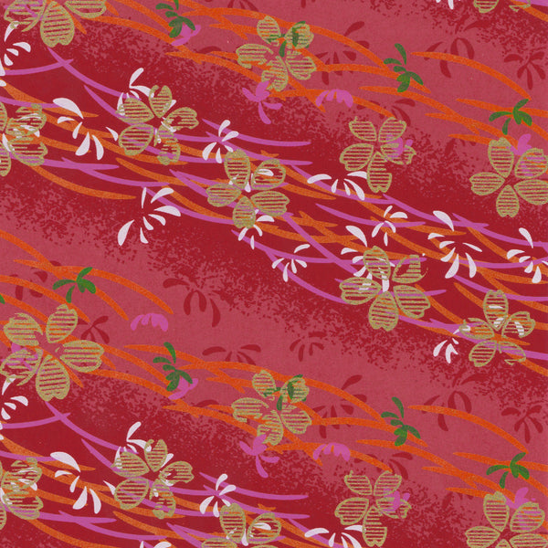 Yuzen Washi Wrapping Paper HZ-083 - Gold Cherry Blossom Red