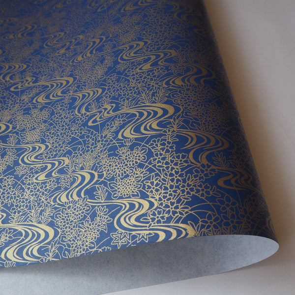 Yuzen Washi Wrapping Paper HZ-086 - Sapphire Flowing Water Garden - washi paper - Lavender Home London