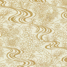 Yuzen Washi Wrapping Paper HZ-088 - Gold Flowing Water Garden - washi paper - Lavender Home London