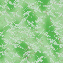 Yuzen Washi Wrapping Paper - Cranes Fresh Green
