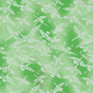 Pack of 20 Sheets 14x14cm Yuzen Washi Origami Paper HZ-090 - Cranes Fresh Green - washi paper - Lavender Home London
