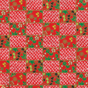 Yuzen Washi Wrapping Paper - Deer's Spots & Checkerboard Red