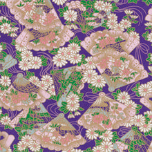 Yuzen Washi Wrapping Paper HZ-094 - Floral Fans & Chrysanthemum Purple