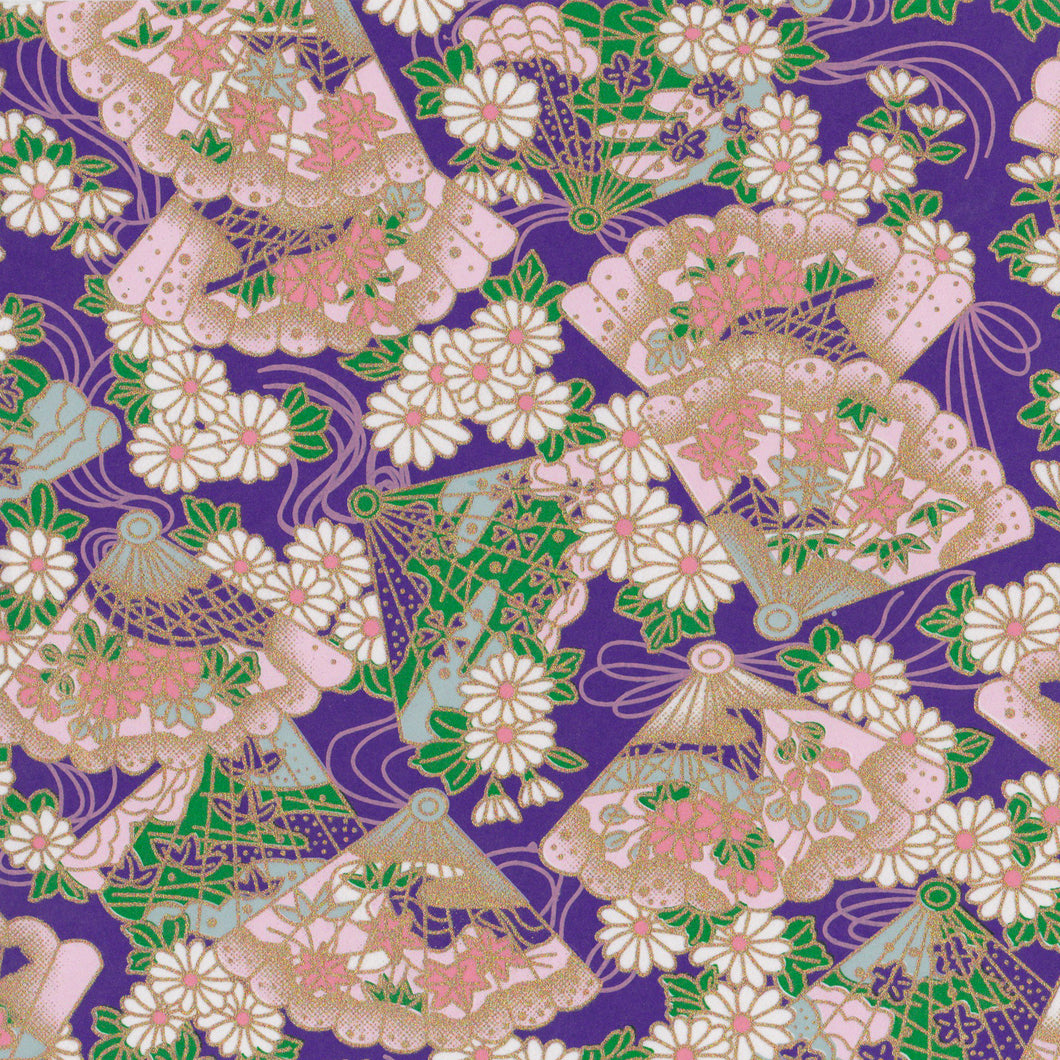 Yuzen Washi Wrapping Paper HZ-094 - Floral Fans & Chrysanthemum Purple - washi paper - Lavender Home London