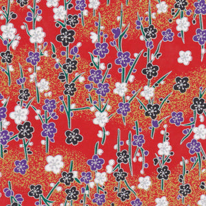 Yuzen Washi Wrapping Paper HZ-097 - Silver Plum Branches Red - washi paper - Lavender Home London