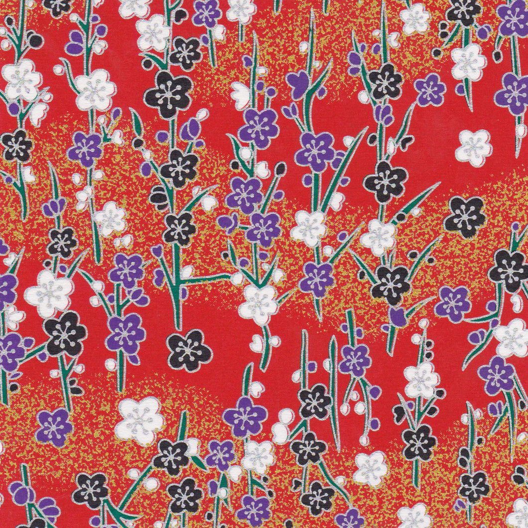 Yuzen Washi Wrapping Paper HZ-097 - Silver Plum Branches Red