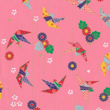 Yuzen Washi Wrapping Paper HZ-102 - Origami Cranes Pink (L)