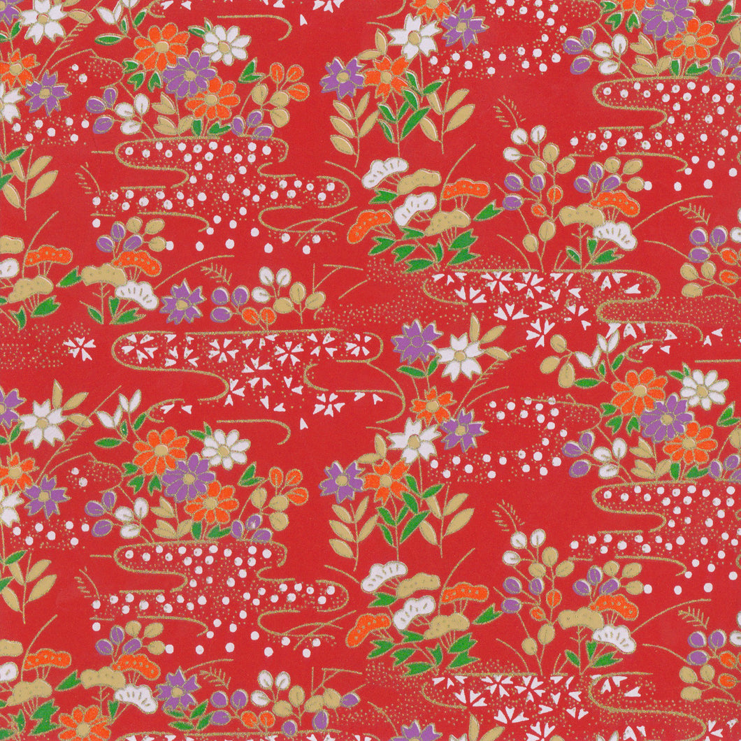 Yuzen Washi Wrapping Paper HZ-104 - Red Flower Field - washi paper - Lavender Home London
