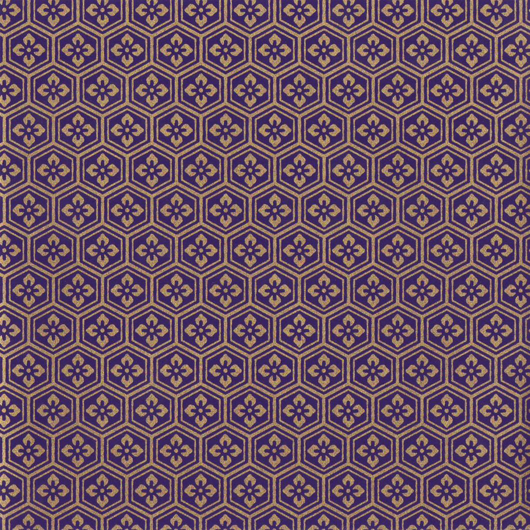 Yuzen Washi Wrapping Paper HZ-106 - Purple Gold Tortoiseshell Diamond Flower