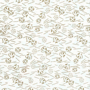 Pack of 20 Sheets 14x14cm Yuzen Washi Origami Paper HZ-107 - Gold Shells White - washi paper - Lavender Home London