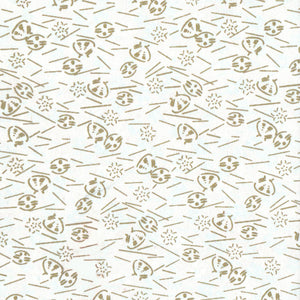 Yuzen Washi Wrapping Paper - Gold Shells White