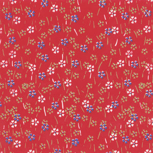 Yuzen Washi Wrapping Paper HZ-116 - Small Cherry Blossom Red