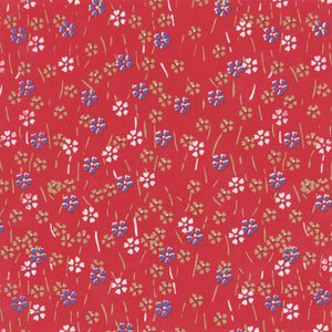 Pack of 20 Sheets 14x14cm Yuzen Washi Origami Paper HZ-116 - Small Cherry Blossom Red - washi paper - Lavender Home London